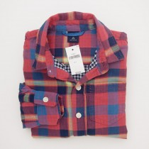 NEW GapKids Boy's Long Sleeve Gala Double Woven Shirt in Red Plaid