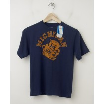 NEW GapKids Tailgate Michigan Wolverines College Tee T-Shirt in Navy