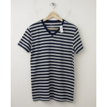 NEW Gap The Essential V-Neck Striped Tee T-Shirt in Navy Stripe