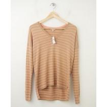 NEW Gap Perfect V-Neck Silk Blend Sweater in Oatmeal Stripe