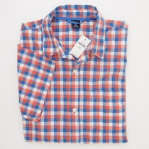 NEW GapKids Boys Short Sleeve Gingham Shirt in Orange & Blue Plaid