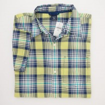 NEW GapKids Boys Short Sleeve Bright Check Plaid Shirt in Yellow Plaid