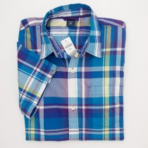 NEW GapKids Boys Short Sleeve Multi-Colored Plaid Shirt in Purple Plaid