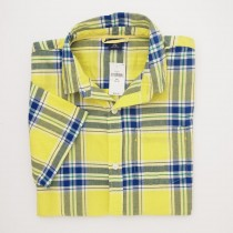 NEW GapKids Boy's Short Sleeve Gala Plaid Shirt in Yellow Plaid