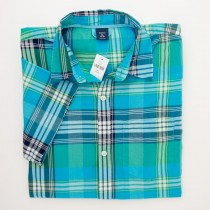 NEW GapKids Boys Short Sleeve Aqua Plaid Shirt in Blue/Green Plaid