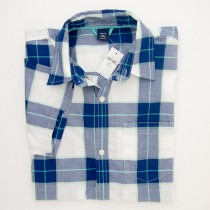 NEW GapKids Boys Short Sleeve Wide Plaid Shirt in Blue Plaid