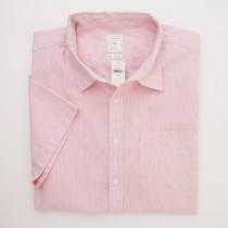 Gap Short Sleeve Micro Corded Stripe Shirt in Lipstick