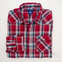 NEW Old Navy Slim Fit American Western Shirt in Red Plaid