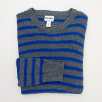 NEW Old Navy Reverse Striped Crew Neck Sweater in Dark Grey Heather