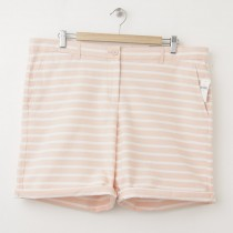 NEW Gap Boyfriend Roll-Up Bermuda Shorts in Peach Stripe