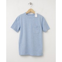 NEW GapKids Nepped Pocket Tee Crewneck T-Shirt in Light Blue Heather