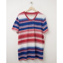 NEW Gap Lived-In Variegated V-Neck Tee T-Shirt in Red Stripe