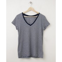 NEW Gap Women's The Essential Stripe V-Neck Tee T-Shirt in Navy Stripe