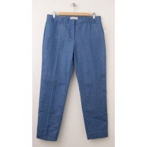 NEW Gap Slim Cropped Linen Pants in Medium Blue