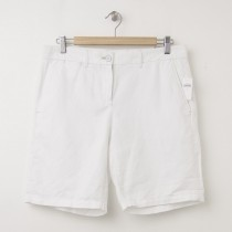 NEW Gap Boyfriend Roll-Up Linen Bermuda Shorts in Optic White