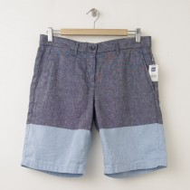 NEW Gap Colorblock Chambray Boyfriend Roll-Up Shorts in Blue