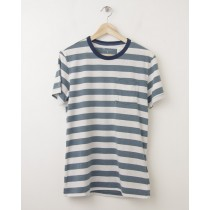 NEW Gap Striped Ringer Pocket Tee T-Shirt in Grey Stripe