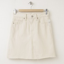 NEW Gap 1969 High Rise Raw Edge Denim Skirt in Ecru