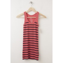 NEW Gap Women's Essential Overdyed Striped Rib Tank in Red Stripe