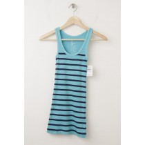 NEW Gap Women's Essential Overdyed Striped Rib Tank in Blue Stripe