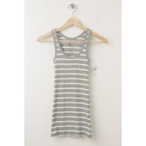 NEW Gap Women's Essential Striped Rib Tank in Grey Stripe