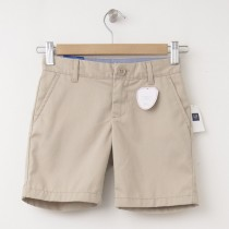 "NEW GapKids Girl's GapShield Uniform Flat Front Shorts (6"") in Wicker Beige"