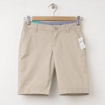 "NEW GapKids Girl's Uniform Skinny Stretch Bermuda Shorts (8"") in Wicker Beige"