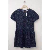 NEW Gap Short Sleeve Baby Doll Dropwaist Dress in Small Blue Floral