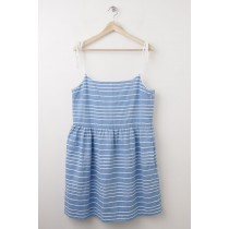 Gap Strappy Stripe Fit & Flare Dress in Barclay Blue