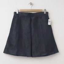 NEW Gap Linen Blend Single Box Pleat Skirt in Medium Chambray