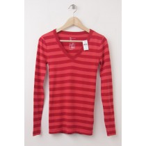 NEW Gap The Bowery Striped Supersoft V-Neck Long Sleeve Tee in Red Stripe
