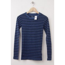 NEW Gap The Bowery Supersoft Stripe Long Sleeve Crew Tee in Blue Stripe