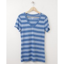 NEW Old Navy Women's April Vintage V-Neck Tee T-Shirt in Blue Stripe