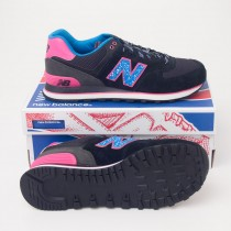 New Balance Women's Outside In 574 Classics Running Shoes in Black WL574OIC
