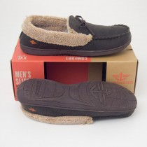 Dockers Aviator Moccasin Slippers with Memory Foam in Brown