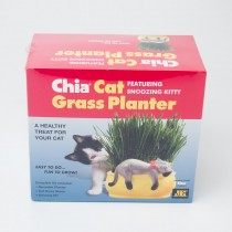 Chia Pet Cat Grass Planter Featuring Snoozing Kitten