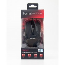 iHome Computer Classic Corded Optical Mouse Black IH-M600B