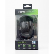 iHome Computer Graphite Wireless Optical Mouse Black Glossy IH-M361B