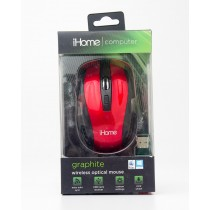 iHome Computer Graphite Wireless Optical Mouse Red IH-M361R