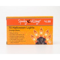 Spooky Village Halloween String Lights with 70 Orange Bulbs