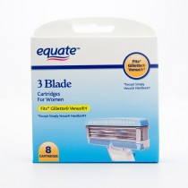 Equate 3 Blade Razor Cartridges for Women Fits Gillette Venus 8 Cartridge Pack