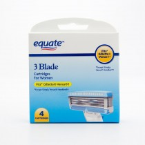 Equate 3 Blade Razor Cartridges for Women Fits Gillette Venus 4 Cartridge Pack