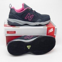 New Balance Women's Steel Toe 627 Suede Work Shoes WID627GF in Dark Grey