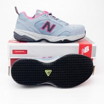 New Balance Women's Steel Toe 627 Suede Work Shoes WID627GP in Light Grey