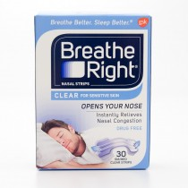 Breathe Right Nasal Strips Clear for Sensitive Skin 30 - Sm/Med