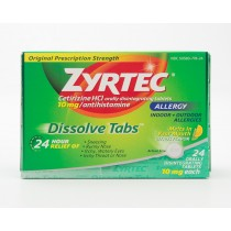 Zyrtec Dissolve Tabs 24 Hour Allergy Relief Antihistamine 24 Tablets