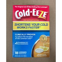 Cold-Eeze Homeopathic Zinc Honey Lemon 18 Lozenges