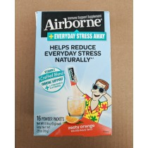 Airborne Immune Support Supplement + Everyday Stress Away - Zesty Orange 16 Powder Packets (Net Wt 0.18 oz each)