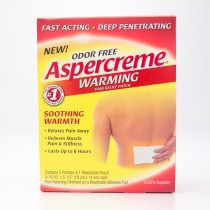 """Aspercreme Odor Free Warming Pain Relief Patch 5 3-15/16"""" by 5-1/2"""" Patches"""