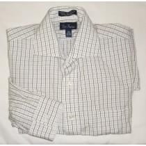 Paul Fredrick Broadcloth Check Dress Shirt Men's 15.5-34